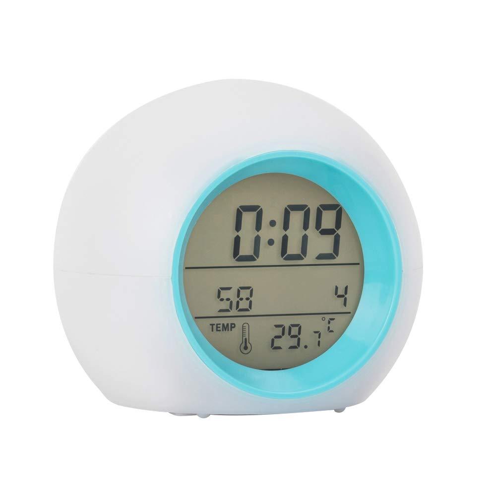 Lanker Réveil des Enfants - avec Horloge Calendrier Affichage De La Température, Lumière Changeante De La Lumière LED Douce Et 6 Son Naturel - AC01