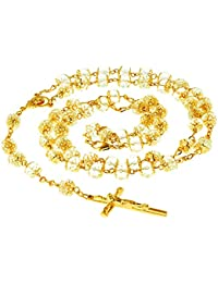 Rosary Necklace, Crystal Prayer Beads, 24K Gold Over Bronze, Catholic Crucifix and Virgin Mary Center, Guaranteed For Life, 30 Inches