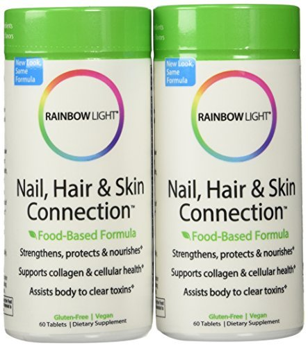Rainbow Light Nail - Rainbow Light Nail, Hair and Skin Connection Food-Based Tablets, 60-Count Bottles (Pack of 2)