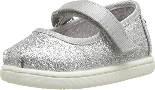 Price comparison product image TOMS Kids Baby Girl's Mary Jane (Infant/Toddler/Little Kid) Silver Iridescent Glimmer 4 M US Toddler