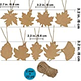 "Supla 180 PCS Favor Tags Thank You Gift Tags Place Cards Name Tags Blank Cards Hang Tags Kraft Paper Tags Maple Fall Leaves Shape - 3.2"" L with Natural Jute Twine for Fall Party Thanksgiving"