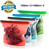 Reusable Silicone Food Storage Bags Set of 4 - Large Size 50 oz Airtight Seal Bag Keep Your Food Fresh for Sandwich, Sous Vide, Liquid, Snack, Lunch, Fruit, Freezer - 2 Large & 2 Small (Green 5)
