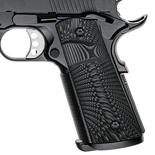 (Cool Hand 1911 Full Size G10 Grips, Magwell Cut,Big Scoop, Ambi Safety Cut, Sunburst Texture, Brand, Grey/Black )