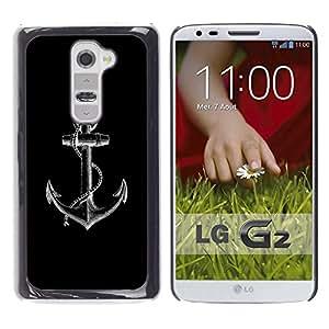 A-type Arte & diseño plástico duro Fundas Cover Cubre Hard Case Cover para LG G2 (Anchor Black White Minimalist Sailor)