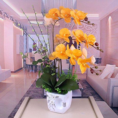 LUOSAI 造花偽黄色の装飾花瓶 B07RJHL3W7