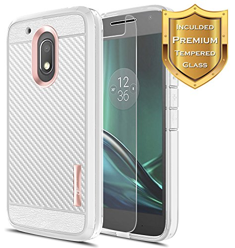 Moto G4 Play Case with [Tempered Glass Screen Protector], NageBee [Frost Clear] [Carbon Fiber] Slim Soft TPU Rubber Bumper Case for Motorola Moto G Play (4th gen) (Rose Gold)