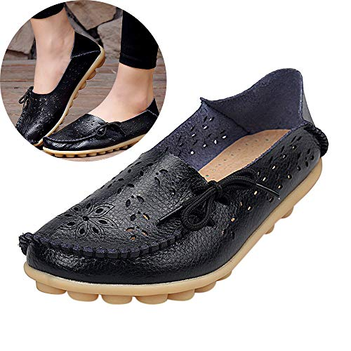 (Women's Comfy Bow Leather Single Shoes Retro Shallow Non Slip Loafers Penny Soft Hollow Breathable Sandals Casual Shoes (Black, 9 M US))