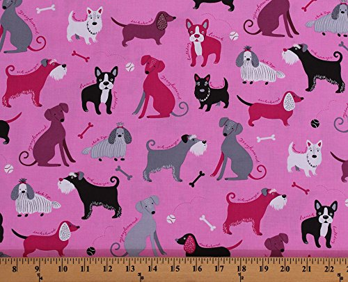 (Cotton Dogs Breeds Names Greyhounds Dachshunds French Bulldogs Schnauzers Shih Tzus Bones Animals Pets Pink Cotton Fabric Print by the Yard (AMF-16496-10-PINK))