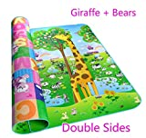 Sytian® 200*180*0.5cm Large Size & Non-slip & Waterproof & Eco-friendly & Double Sides Baby Care Play Mat /Kids Crawling Mat /Playing Pad /Game Mat for Indoor and Outdoor Use (Giraffe + Bears)