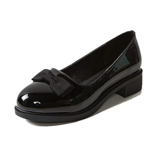Zapatos con Cordones De Mujer Zapatos Oxford Mocasines De Bowtie Patente Deslizante En Pisos Plataforma Informal Oficina Zapatos De Barco De Carrera: ...