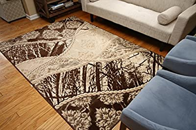 New City Contemporary Brown Beige Modern Flowers Wool Area Rug 4028