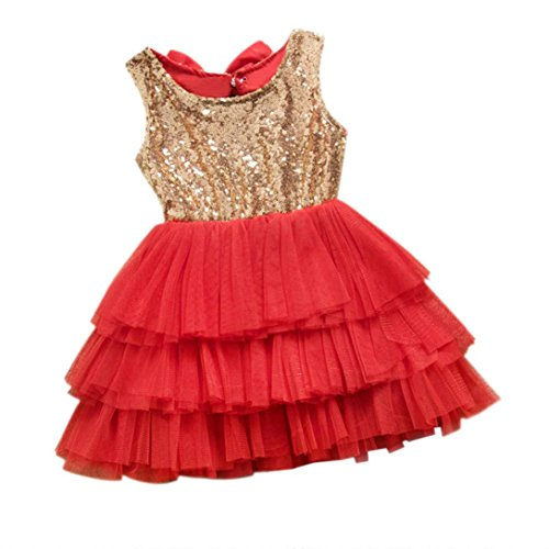 Dresses ,BeautyVan Baby Flower Girl Sequins Dress Bow Backless Party Gown Formal Bridesmaid Dresses (3T, Red)