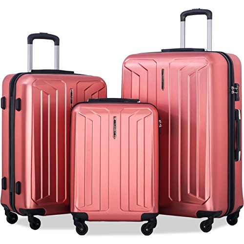 Flieks 3 Piece Luggage Set Spinner Suitcase - TSA Approved - High/Low Temperature Resistance - 20/24/28in (Red) (Eco Luggage)