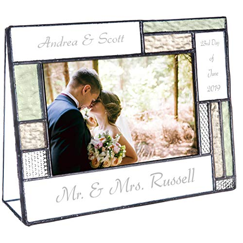 Wedding Picture Frame Personalized Gift for Couple Engagement Green and Yellow Glass Table Top 4x6 Horizontal Photo Engraved Keepsake J Devlin Pic 430-46H EP619