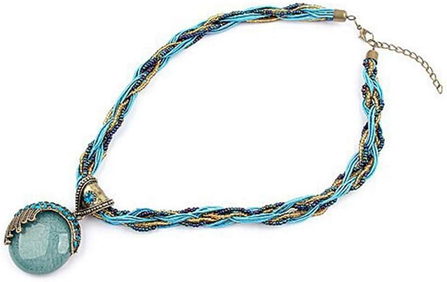 jiheousty Collar con Colgante de Piedra de Cristal Collar de Gema de Diamantes de imitación de Pavo Real Elegante Bohemio
