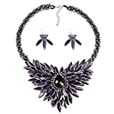 Baroque Hidden Floral Purple Glass Necklace and Earring Jewelry Set