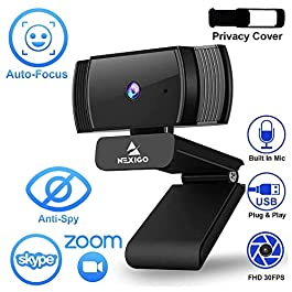 2021 AutoFocus 1080p Webcam with Stereo Microphone and Privacy Cover, NexiGo FHD USB Web Camera, for Streaming Online…