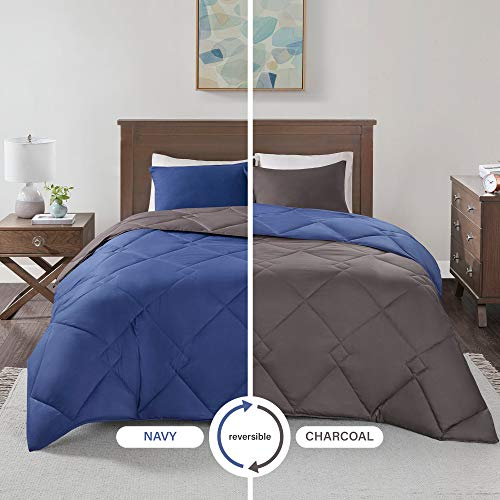 (Comfort Spaces Vixie 3 Piece Comforter Set All Season Reversible Goose Down Alternative Stitched Geometrical Pattern Bedding, Full/Queen, Navy/Charcoal )