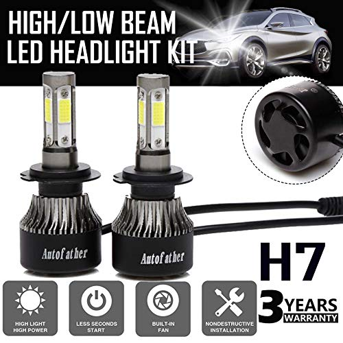 H7 LED Headlight Bulbs All-in-One Conversion Kit Plug and Play, 240W 24000LM 6000K Cool White 4-side of LED COB Chips High or Low Beam Fog light IP67 Waterproof, 3 Year - Bulbs 240w