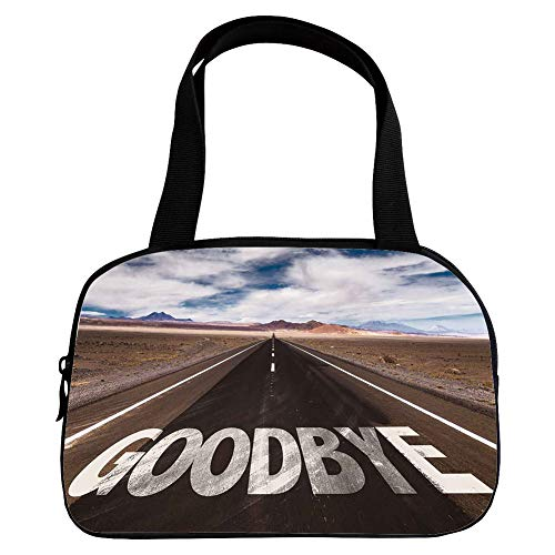 Personalized Customization Small Handbag Pink,Going Away Party Decorations,Goodbye Written on Asphalt Road Highway City Urban Words,Brown Blue White,for Girls,Personalized Design.6.3