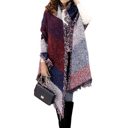 Crochet Fringe (FENTI Winter Fashion Stylish Fringe Plaid Scarf, Cashmere Feel Long Pashmina , Red Blue White , 98*26 inch)