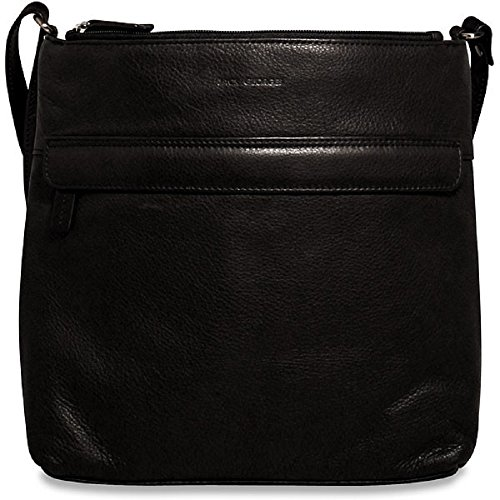 Jack Georges Soho Collection Leather Zip Top Hobo Bag in Black (Hobo Soho Leather)