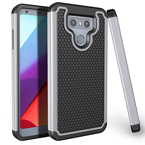 LG G6 Case, TILL(TM) [Gray] [Shock Absorbing] Dual Layer Hybrid Rubber Plastic Scratch Resistant Impact Defender Rugged Slim Protective Hard Case Cover Shell for LG G6 (2017) (Glasses Toronto Wine)