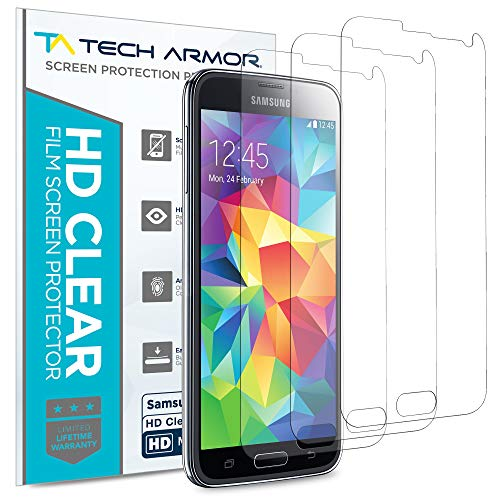 Tech Armor High Definition HD-Clear Film Screen Protectors (Not Glass) for Samsung Galaxy S5 [3-Pack] (Galaxy Screen Hd S5 Protector)
