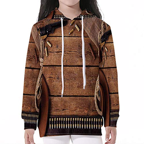 Young Boys Pullover Hoodies,Western,Cowboy Gun Belt and Vintage Rope Hat and C