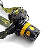 XM-L T6 LED Waterproof Zoom Focus Front Light LED zoomable HeadLamp HeadLight 3 Mode 3000 Lumens for Camping Biking Working Hunting Fishing Riding(Gold)(include Battery and Charger )