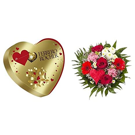 Ferrero Rocher Herz, (1 x 125 g) + Blumenstrauß Alles Liebe: Amazon ...