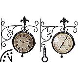 Esschert design Orologio da parete, Bahnhofsuhr con termometro, misuratore di temperatura, 25 cm x 10 cm x 30 cm