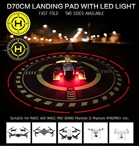 DJI TELLO Mavic Air Pro/Platinum Spark Phantom 3 4 Pro Accessories 70cm/27.5'' Led Light Landing Pad Universal Drone Parking Apron Mini Fast-fold Helipad