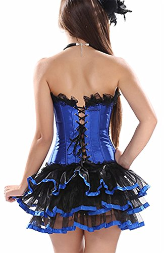 Reinhar Fashion Stage Costumes Lace up Outfit Overbust Gothic Corset and Lace Tutu Skirt Blue-BlackXL(waistline:30-31 (Ebola Costume Nurse)