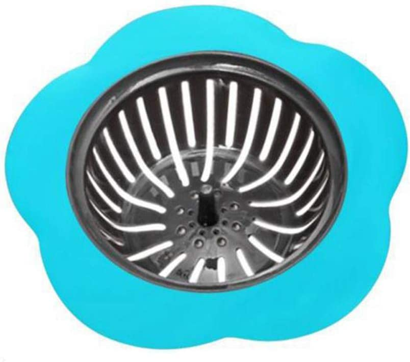 Blue SQUAREDO Flower Shape Plastic Sink Strainer Kitchen Sink Drain Filter Basket Good Grips Sink Strainer
