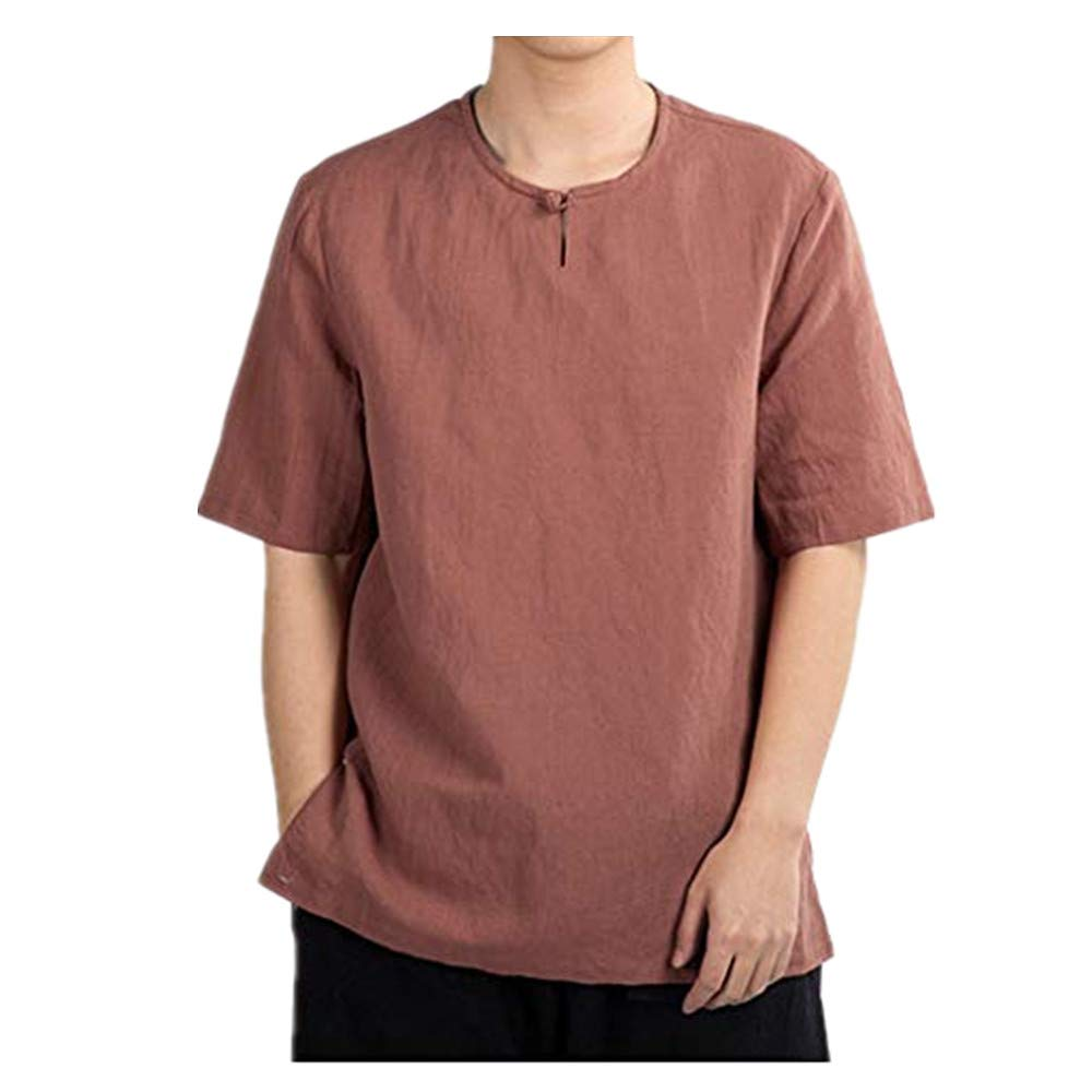 Mens Round Neck T-Shirts Summer Casual Pure Color Cotton Linen Short Sleeve T-Shirts Top
