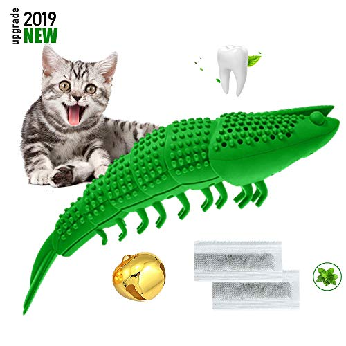 Bailixin Cat Catnip Interactive Chewing Toy, Dental Care Toothbrush for Kitten Kitty Teeth Cleaning, Leaky Food Device…