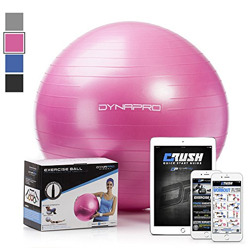 Exercise Ball with E-Quick Start Workout Guide by CRUSH FITNESS - Gym Quality, Anti-Burst, Anti-Slip Fitness Ball. More colors and sizes available aka Yoga Ball, Swiss Ball (Pink, 65 Centimeters)