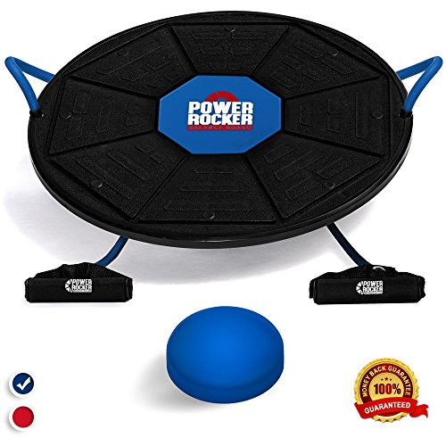 Power Rocker Balance Board - Premium Wobble Board - Adjustable Height - Bonus Resistance Tube Set - Complete Stability & Core Training - Physical Therapy and Injury Rehabilitation - Blue