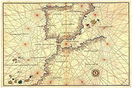 portolan o mapa de navegación de la España, Gibraltar y norte de África