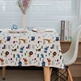 Cotton Animal Tablecloth,Childrens Table Cloth for Rectangle Table, Childrens Party Table Cover 54 Inches Wide 70 Inches Long
