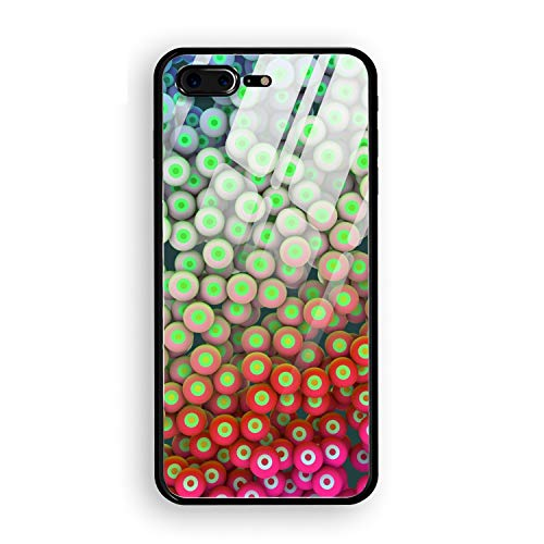 Circles Balls Eyes Bright Colorful Stylish iPhone 7 Plus/8 Plus Case Slim Fit Tempered Glass iPhone 7 Plus/8 Plus Cover 5.5