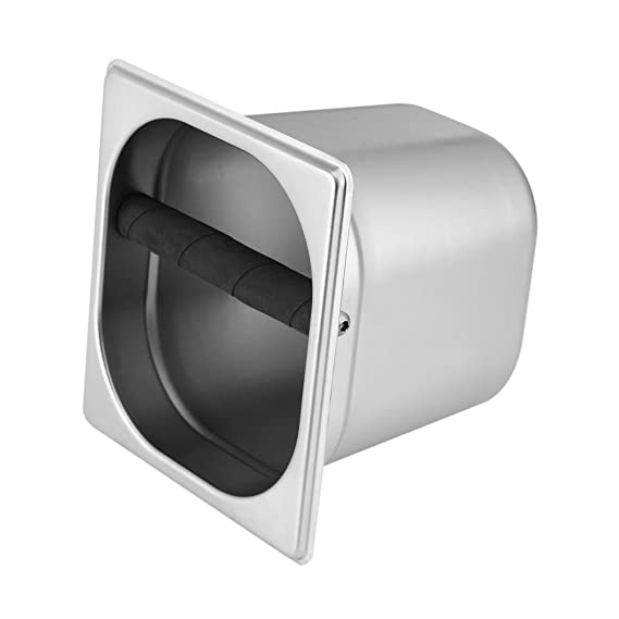DGTRHTED Knock Box - Contenedor de Acero Inoxidable para Knock Box con Barra de Goma para máquina de café L: Amazon.es: Hogar