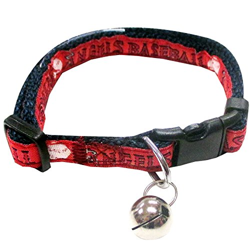 MLB CAT COLLAR. - LOS ANGELES ANGELS CAT COLLAR. - Strong & Adjustable BASEBALL Cat Collars with Metal Jingle Bell Angel Jingle Bell