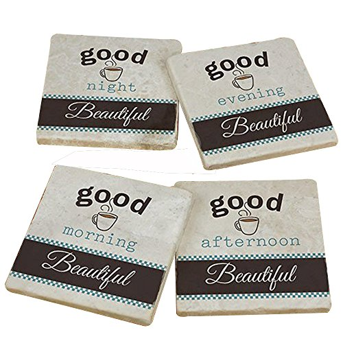 GiftsForYouNow Personalized Good Morning Marble Coasters