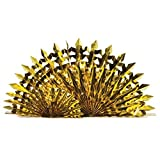 Club Pack of 12 Glitz Gold Hanging Fan Centerpiece Party Decorations 14''
