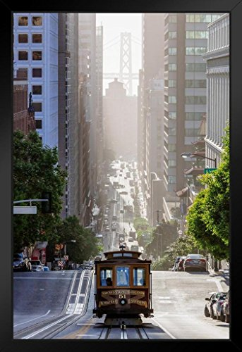 (Cable Car on San Francisco California Street Photo Art Print Framed Poster 14x20 inch)