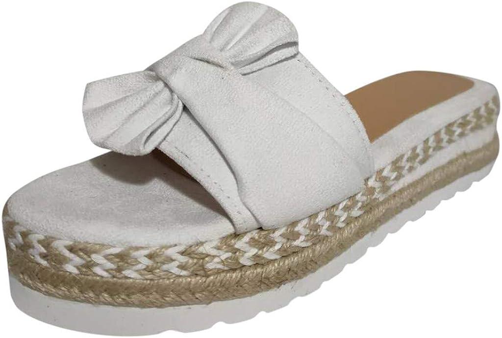 LuckyGirls Slip-On Summer Slip-On Bow Flat Beach Open Toe Sandalias Transpirables Zapatos de Tejido