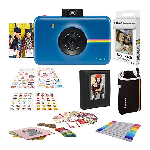 Polaroid Snap Instant Digital Camera (Navy Blue) with 2×3ʺ Premium Photo Paper 20-Pack, Neoprene Pouch, Zink Paper Unique Colorful Stickers & Photo Album Accessories