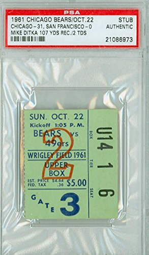 1961 Chicago Bears Ticket Stub vs San Francisco 49ers Bill Wade 4 TD Passes Mike Ditka 2 TD Catches - Bears 31-0 October 22, 1961 PSA/DNA Authentic Oct 22 1961 [Grades Vg/Ex w/rough tear line]